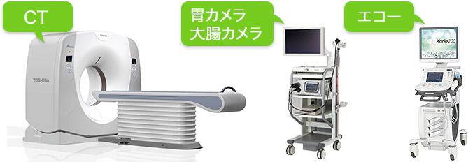 CT、胃カメラ、大腸カメラ、エコー